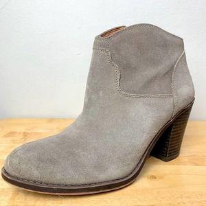 Lucky Brand LK-Eller Suede Grey Ankle Heeled Boot